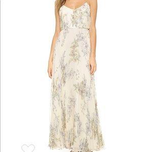 JILL Jill Stuart Floral Pleated Silk Chiffon Gown